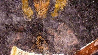 Свети Ефрем Сирин -стенопис в Боянската църква преди реставрацията