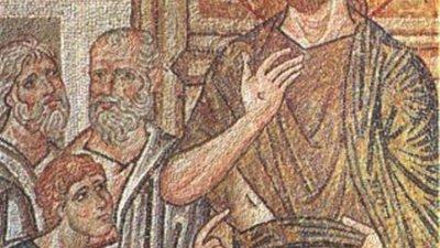 Уверението на свети апостол Тома. Мозайка от XI в. от храма в Дафия, Гърция