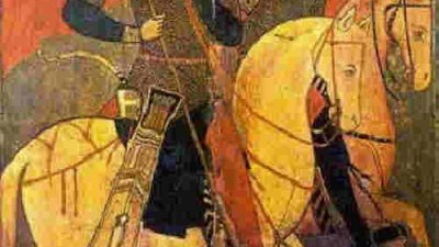 Свети Сергий и Вакх на коне. Икона от XIII в. в Mанастира Света Екатерина в Египет, Синай
