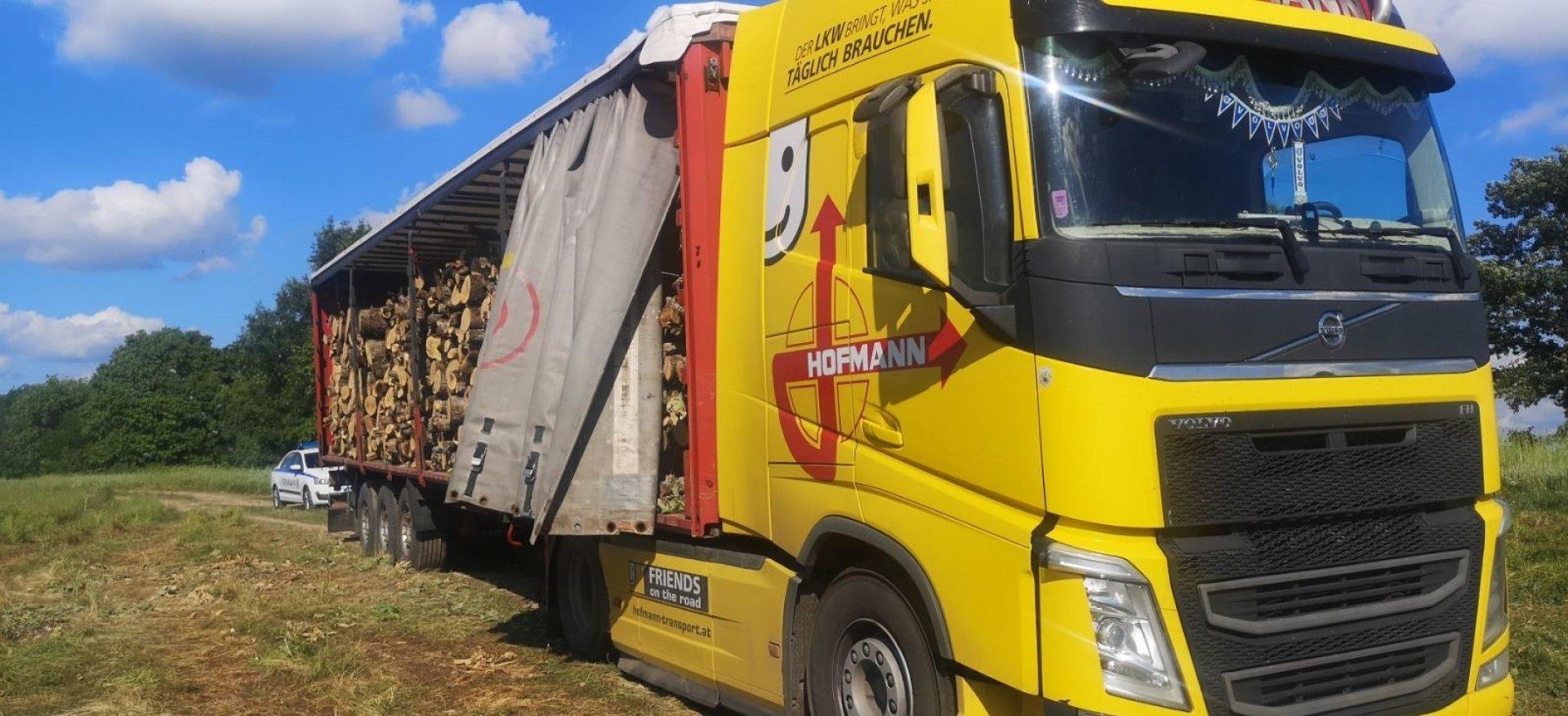 Камионът с дървесина е засечен в землището на село Крушевец. Снимкиш РДГ - Бургас