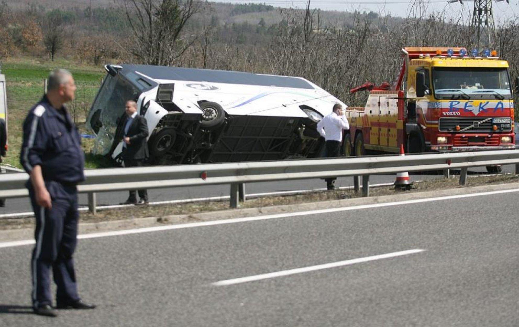 Автобус на Юнион Ивкони се обърна на магистрала Тракия, десет души загинаха. Снимка Архив