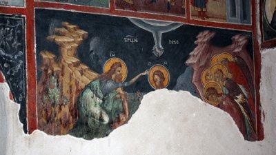 Сцена от кръщението на Иисус от Йоан Предчета в река Йордан