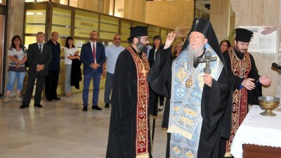 Сливенският митрополит Иоаникий отслужи водосвет по повод новата съдебна година. Снимка Лина Главинова