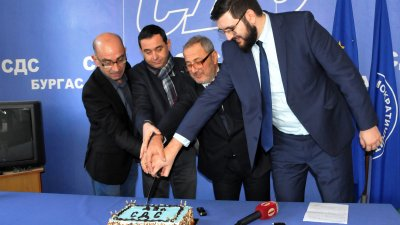 Сините разрязаха торта по случай 29-тия рожден ден на партията. Снимка Лина Главинова