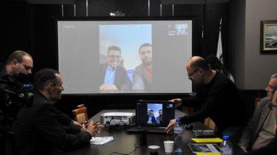 Андрей Арнаудов представи Съни бийч - 2 чрез скайп връзка. Снимка Лина Главинова