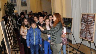 Учениците на Таня Стоянова първи разгледаха изложбата. Снимки Лина Главинова