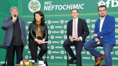 Анелия Златкова присъства на церемонията, на която бе сключен петгодишния договор с Efbet. Снимка Архив Черноморие-бг