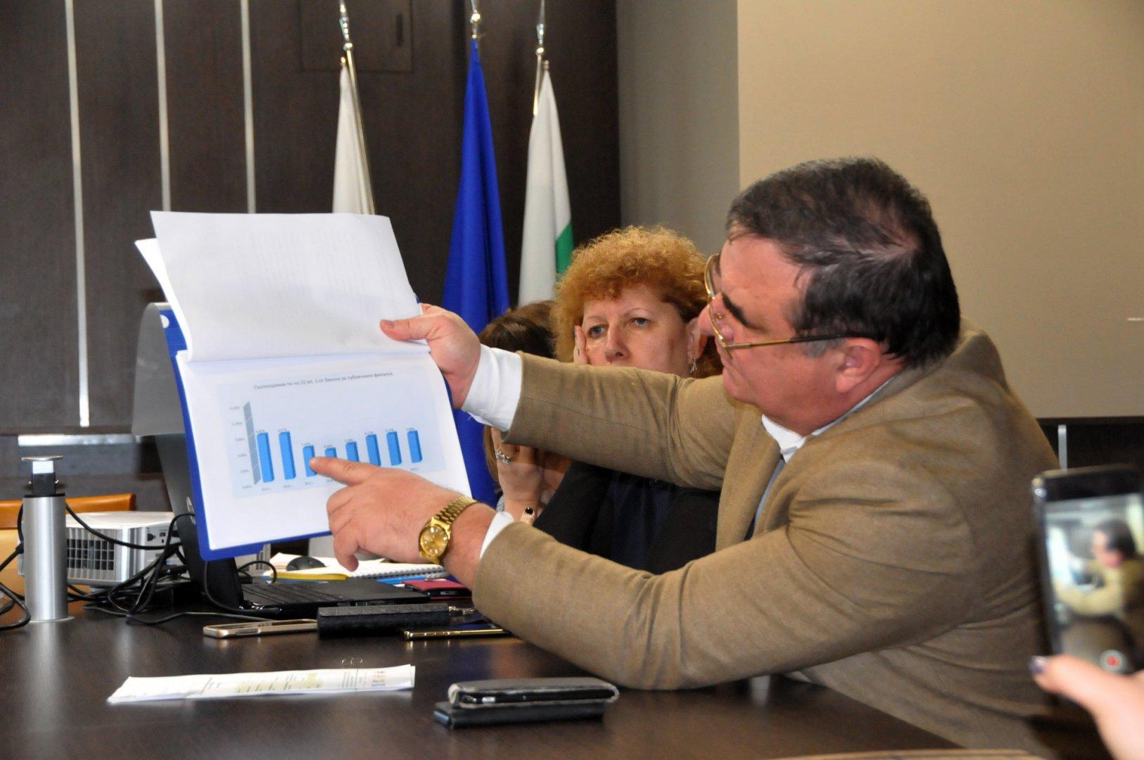 Зам.-кметът Красимир Стойчев показва икономическите показатели на Общината. Снимки Лина Главинова