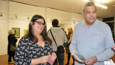 Красимир Атанасов и дъщеря му Вася дойдоха в Бургас за откриване на изложбата на Тодор Атанасов. Снимки Лина Главинова