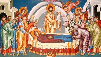 И както Приснодевата носеше на ръцете Си Сина Божи във времето на Неговото земно младенчество, така в отплата за това, Синът Божи понесе Нейната душа на ръцете Си в началото на Нейния небесен живот