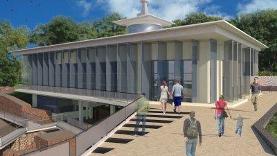 Това е визуализацията на проекта за римската баня. Снимки Община Бургас