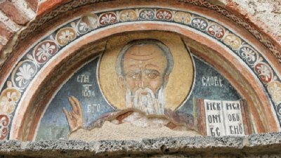 Свети Йоан Богослов. Стенопис над входната врата на църквата Св. Иоан Богослов в Земен