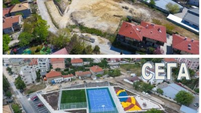 На снимките се вижда как е изглеждал терена в началото и сега - в края на строителството. Снимки Община Варна